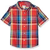 Amazon Essentials - Camisa de popelina/batista de manga corta para niño, Madras Red, US S (EU 116 CM)