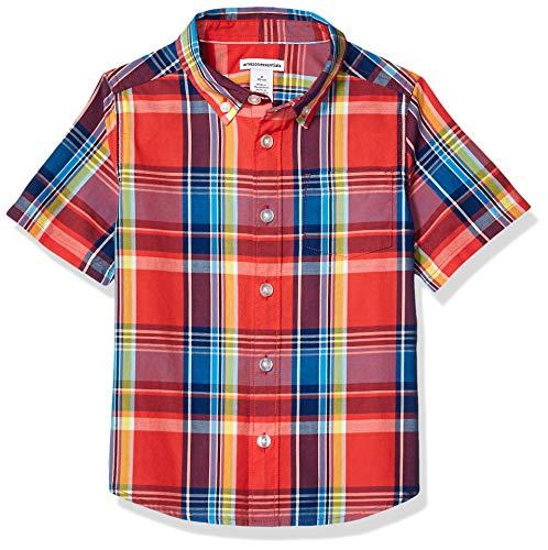 Amazon Essentials Jungen-Kurzarmshirt Poplin/Chambray, Madras Red, US S (EU 116 CM)