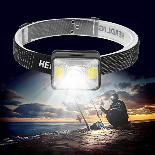 xianshi Linterna de luz Blanca roja, Linterna, Linterna Frontal, Carga USB para Ciclismo, Acampada, Pesca Nocturna, Caza, Senderismo