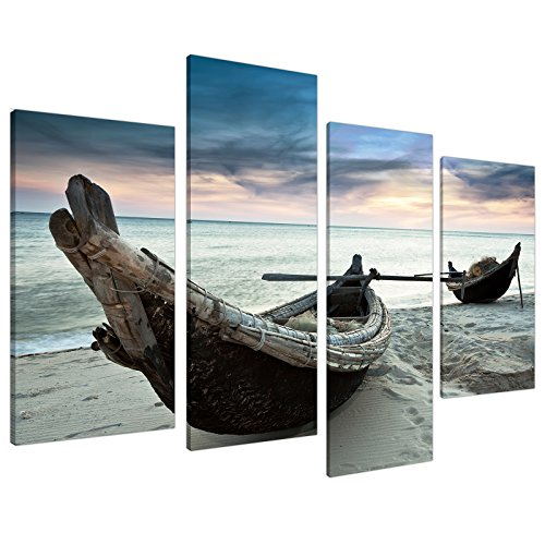 Large Blue Beach Sea Sunset Canvas Wall Art Pictures XL Set Boats 4107 by Wallfillers