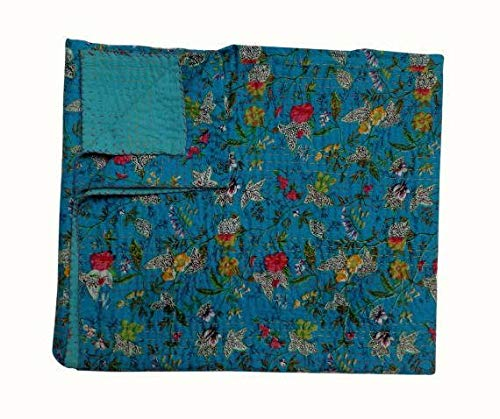 Couvre-lit Indien Ethnique Fait à la Main pour lit Motif bohémien ,drap de lit, literie, kantha courtepointe ,couverture ( Double)