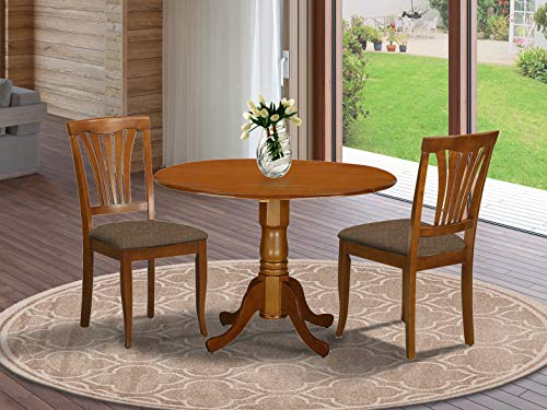 East West Furniture DLAV3-SBR-C 3 PC Nook Dining Set-Round Kitchen Table and 2 dinette Chairs, Linen Fabric Upholstered Seat, Saddle Brown