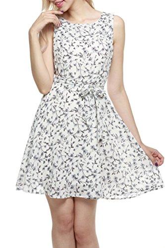 Zeagoo Damen Rundhals Aermellos Partykleid Festkleid Abschlussball Kleider