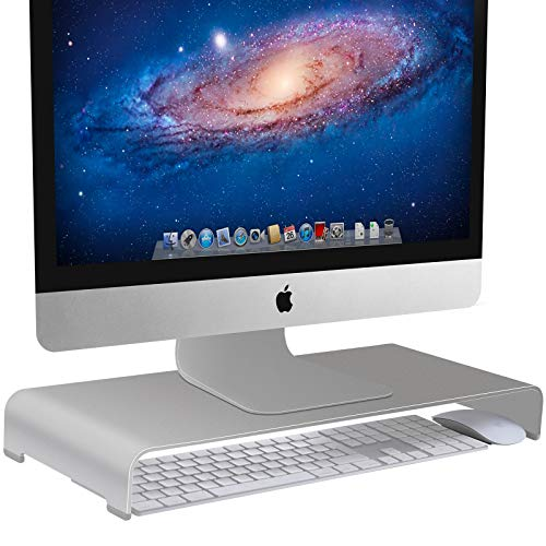 Vaydeer Monitor Stand Computer Riser Metal Desktop Stand up to 27 inches Screens for PC, Laptop, iMac, Mac, MacBook with Storage Space for Magic Keyboard & Mouse(Aluminum,Silver,50 * 22 * 6cm)