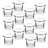 Letine Tealight Candle Holder Set of 12- Clear Glass Votive Candle Holders Bulk for Wedding, Party & Home Decor