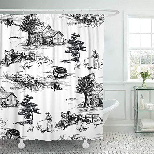Afagahahs Fabric Shower Curtain Curtains with Hooks Black Classic with Old Town Village Scenes Countryside Life in Toile De Jouy Style Beige and Red Color Black Waterproof Decor Bathroom