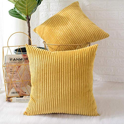 IUYJVR Pack of 2 Corduroy Soft Decorative Square Throw Pillow Cover Cushion Covers Pillowcase Home Decor Decorations For Sofa Couch Bed Chair-Striped Grass Yellow_40x40cm, 2 Pieces
