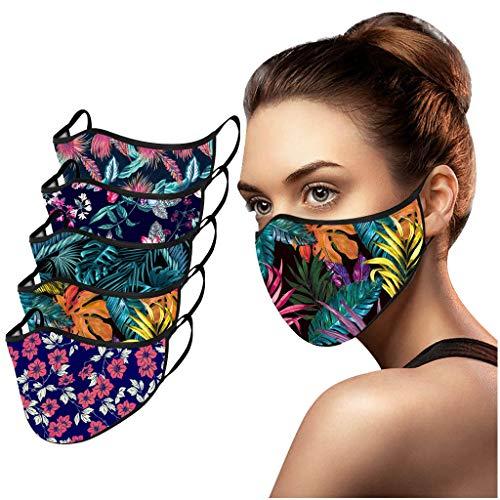 Snakell 5 Stück Mund und Nasenschutz 3D Mundschutz Waschbar Wiederverwendbar, Atmungsaktiv Mund-Nasen-Bedeckung Baumwolle Bunt Stoff Tuch für Freizeit Sport Halstuch