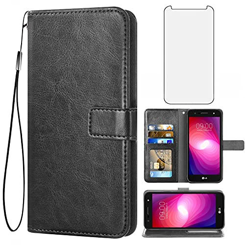 Asuwish Compatible with LG X Charge/Fiesta 2 LTE/X Power 2/X5/LV7 Wallet Case with Tempered Glass Screen Protector Leather Flip Card Holder Stand Cell Phone Cases for LG-M322 XPower 3 SP320 M327 Black