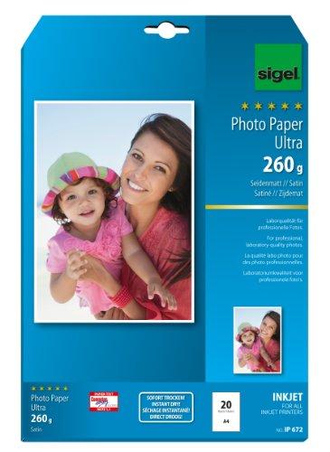 SIGEL IP672 InkJet Fotopapier Ultra, A4, 20 Blatt, seidenmatt, extrem lichtbeständig, 260 g
