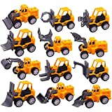 3 otters Pull Back Mini Engineering Car Toys, 12PCS Construction Trucks Toys Small Construction Vehicles Pull Back Toy Car Party Favors Beach Car Toys