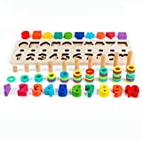 D-FantiX Math Blocks, Shape Sorter Wooden Stacking Toys Ring Counting Number Stacker