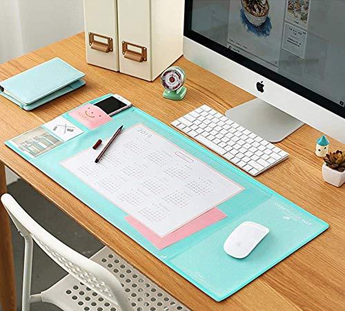 Multifunktionale Schreibtischunterlage mit transparenter Auflage,PVC Wasserdichte Schreibtisch-Mausunterlage mit Taschen,Mauspad große Schreibmatte für die Arbeit/Büro/Kinder/Student-Grün