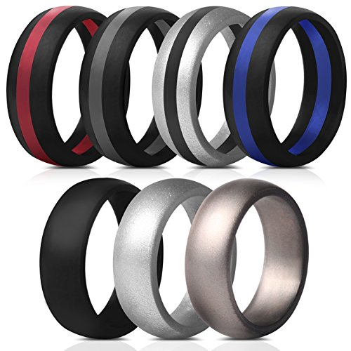 Saco Band Mens Silicone Rings Wedding Bands - 7 Pack (Middle Line Blue Red Black...