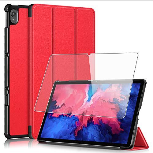 HHUAN Funda + Protector Pantalla para Lenovo Tab P11 11' Pulgadas TB-J606F, con Soporte y Función Auto-Sueño/Estela Protectora Carcasa Case + 9H Dureza Cristal Templado - Red