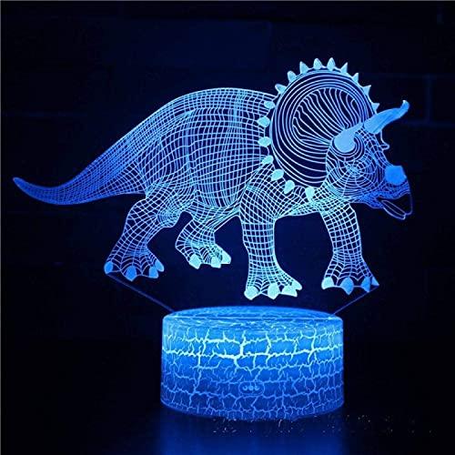 YYHMKBDinosaur 3D Night Light, luz decorativa LED de siete colores, luz visual con control remoto táctil, vacaciones, cumpleaños, regalo para niños