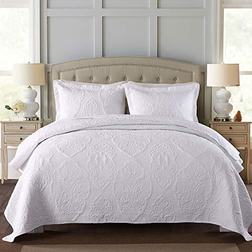 Qucover GesteppteTagesdecke aus Baumwolle inkl. 2 Kissenbezüge Übergroße Bettüberwurf mit Paisley-Muster Weiß 250 x 270 cm