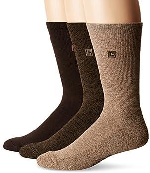 Chaps Men s Assorted Solid Dress Crew Socks  3 Pack  Khaki Shoe Size  6-12