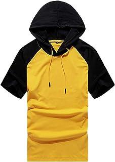 Lavnis Men's Short-Sleeve Hooded T-Shirt Lightweight Sports Sweatshirt Hoodie Pullover Tops