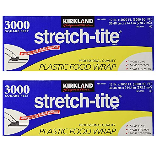 Kirkland Signature Stretch-Tite Plastic Food Wrap - Parent (6000 SQ. FT (2 Pack, 12' x 3000 SQ. FT Each))