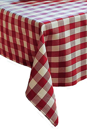 TextilDepot24 Parure de Table avec Carreaux en Coton Rouge et Blanc 2 cm, 100% Coton, Chilli-weiß Kariert, 100 x 140 cm