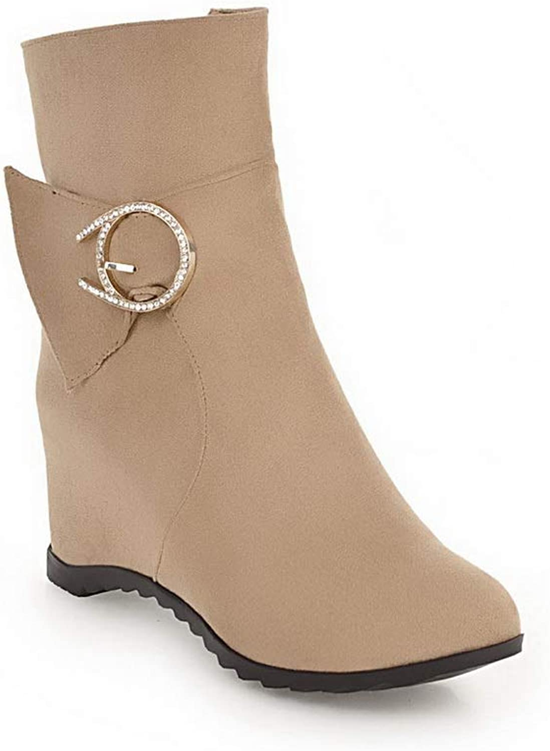 AN Womens Heighten Inside Zipper Imitated Suede Boots DKU02194