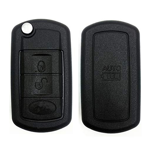 Ezzy Auto 3 Buttons Flip Key Shell Case Fob fit for LAND ROVER Range Rover Sport LR3 Discovery Keyless Remote Entry