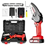 Baulanna Mini Chainsaw Cordless 4-Inch Battery Powered Chainsaw No Assembly Required 0.7KG One-Hand Electric Chain Saw with Anti Splash Baffle for Garden Shrub Gardening Tree Wood Cutting(1Toolbox)