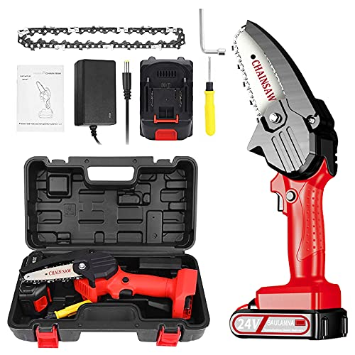 Mini Chainsaw Cordless 4 Inch Electric Power Chain Saw Small Battery Hand Chainsaw for Tree Branch Wood Cutting Garden