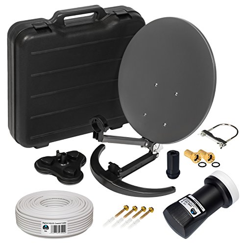 HD Camping Sat Anlage im Koffer von HB-DIGITAL: 📡 Mini Sat Schüssel 40cm Anthrazit ➕ UHD Single LNB 0,1 dB ➕ 10m SAT-Kabel inkl. F-Stecker 💢 4K UHD Full HD 1080p fähig 💢