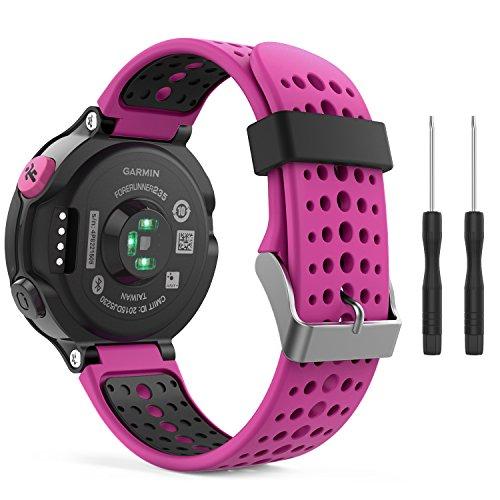 MoKo Garmin Forerunner 235 Watch Band, Soft Silicone Replacement Watch Band for Garmin Forerunner 235/235 Lite / 220/230 / 620/630 / 735XT - Rose RED & Black
