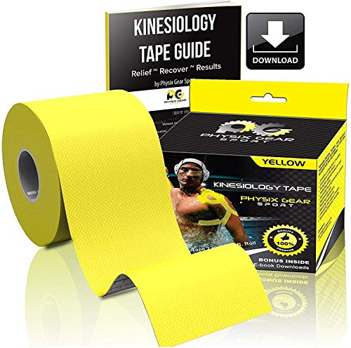 Physix Gear Sport Waterproof Kinesiology Tape 16ft Uncut Roll with 82pg EGuide  Ktapes Kinesiology Tape Knee Tape for Knee Muscle Tape Kinesiology Tape for Sports Taping Weightlifting Tape