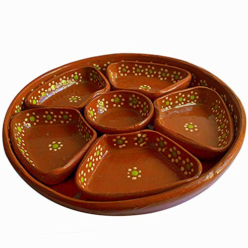 Mexican Salsera de Barro 3-Section Bowls Salsa Chips Guacamole Nuts Condiment Server Traditional Clay Party Dish Made in Mexico