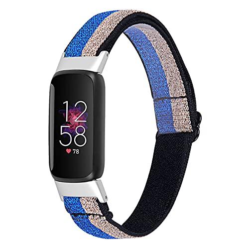 Chofit Correa compatible con correas Fitbit Luxe, ajustable suave de nailon deportivo tejido de lona elástica pulsera de repuesto para rastreador de actividad Luxe (azul-dorado)