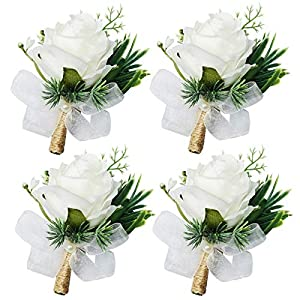 WEIERYUE Artificial Flowers White Rose Wrist Flowers and Men's Corsage Wedding Flowers Ceremony (4pcs White Corsages)