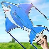 Enorme cometa de tiburón para niños y adultos para juegos en la playa o en el parque con amigos y familiares,se ensambla fácilmente para niños de 3 años en adelante,el mejor juguete para exteriores.