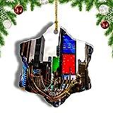 Weekino Estados Unidos América Times Square Nueva York Decoración de Navidad Árbol de Navidad Adorno Colgante Ciudad Viaje Porcelana Colección de Recuerdos 3 Pulgadas