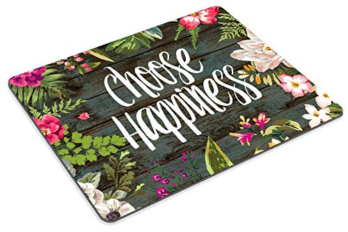 Smooffly Funny Quote Gaming Mouse Pad Custom,Choose Happiness Quotes Vintage Colored Floral Wreath Print Rustic Old Wood Art Mouse Pads Photo #5