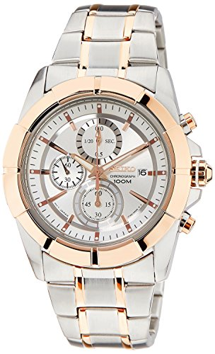 Seiko SNDE72 Lord Two Tone Stainless Steel Silver Dial Men's Chronograph Watch