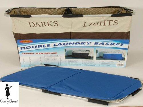 Doppel Wäschetonne Wäschesack Wäschesortierer von Conny Clever® Farbe blau