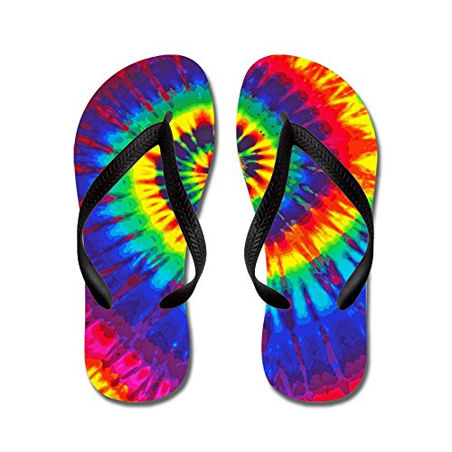CafePress Bright Tie Dye Flip Flops, Funny Thong Sandals, Beach Sandals Black