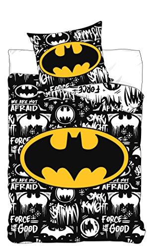 Juego de cama de Batman Funda de edredón de 160 x 200 cm. Una funda de almohada 70 x 80 cm Poliéster – Lavable a máquina Para cama individual.
