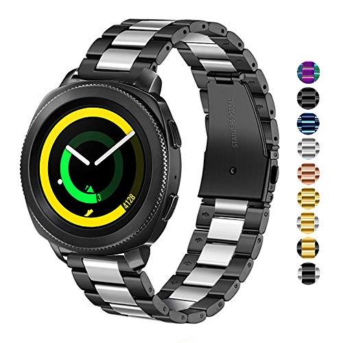 DEALELE Correa Compatible para Samsung Gear Sport, Reemplazo de Correa Metal Acero Inoxidable de 20mm para Samsung Galaxy Watch 42mm / Active/Active 2 Mujer Hombre, Negro/Plata