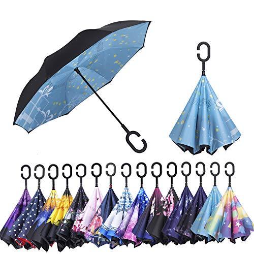 AmaGo Winddicht Inverted Regenschirm - UV Schutz Doppel Schicht Reverse Folding Lang Selbststehender Regenschirm mit C-Form Griff für Auto Regen Outdoor Reisen (Winter Geschenk)
