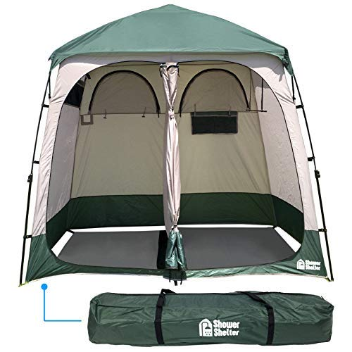 EasyGo Product EGP-TENT-016 Shower Shelter – Giant Portable Outdoor Pop UP Camping Shower Tent Enclosure – Changing Room – 2 Rooms – Instant Tent – 7.5' Tall x 4' Deep x 7.5' Wide, Green