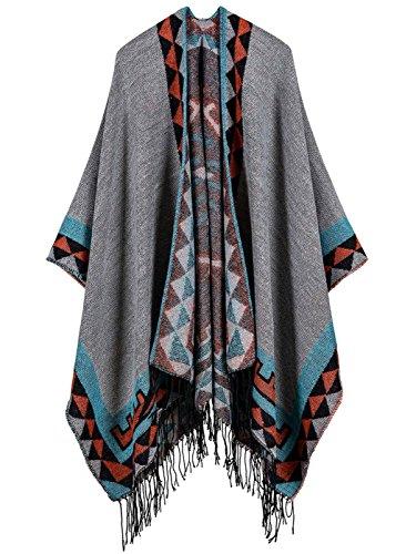 Aivtalk Cape poncho, dames, gebreid, geruit, Schottenpatroon, warm, met franjes, brede opening, dik, sjaal, lang, winter, herfst