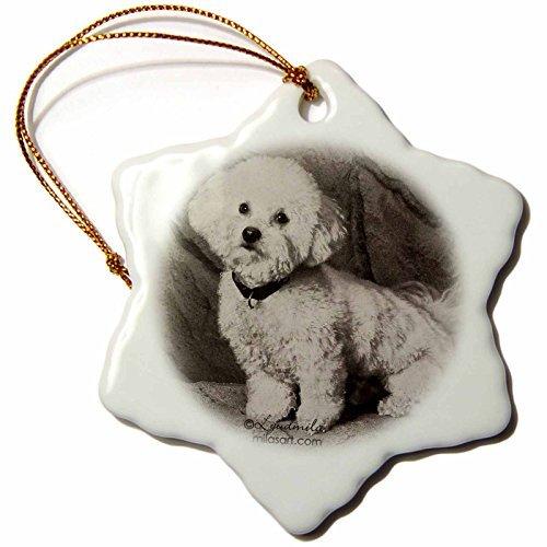cwb2jcwb2jcwb2j 3-Inch Porcelain Snowflake Decorative Hanging Ornament, Bichon Frise Hanging Ornament