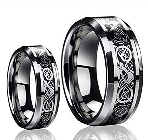 Free Personalized Laser Engraving Ring for Men and Ring for Women His & Her's 8MM/6MM Tungsten Carbide Celtic Knot Dragon Design Carbon Fiber Inlay Wedding Band Ring Set