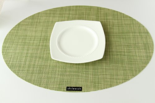 Chilewich Placemat Mini Basketweave Oval - Dill