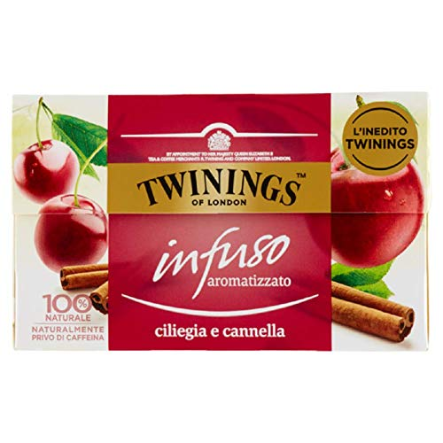Twinings Infusiones - Cereza y Canela - Nuevas Infusiones Frutas y Hierbas sin Cafeína y 100% Naturales, Explosión de Sabor para Cualquier Momento del Día (40 Bolsas)